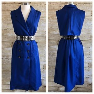 Tea & Cup Blue Double Breasted Midi Trench Dress